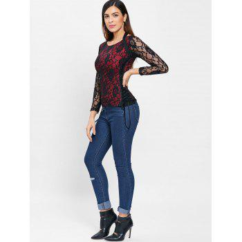 Criss Cross Side Long Sleeve Lace T-shirt - RED WINE XL