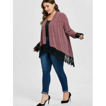 Plus Size Lace Trim Ribbed Cardigan - PINK BOW 3X