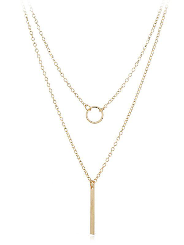 Geometric Shape Layer Chain Necklace - GOLD
