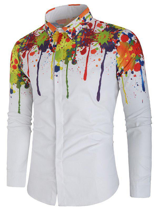 Paint Splatter Print Casual Shirt - WHITE XL