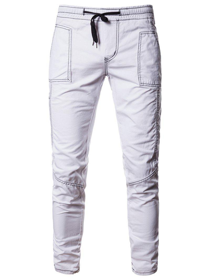 Solid Color Elastic Waist Casual Pants - WHITE M