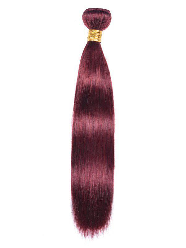 Indian Real Natural Hair Straight Party Hair Weave - RED WINE 22INCH