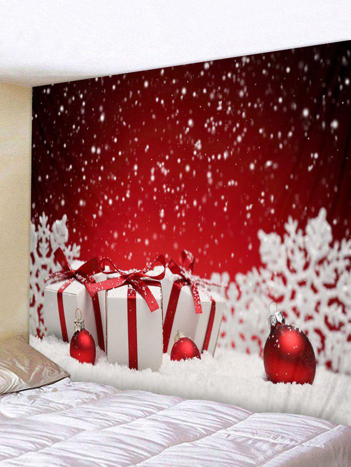 Snowy Christmas Gifts Print Tapestry Wall Art - RED W91 INCH * L71 INCH