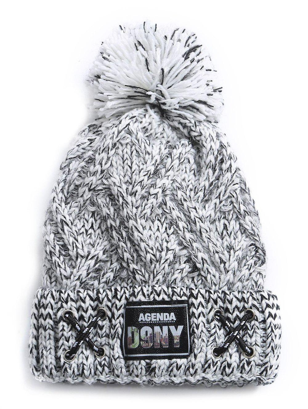 Fuzzy Ball Label Knitted Warm Beanie - GRAY CLOUD