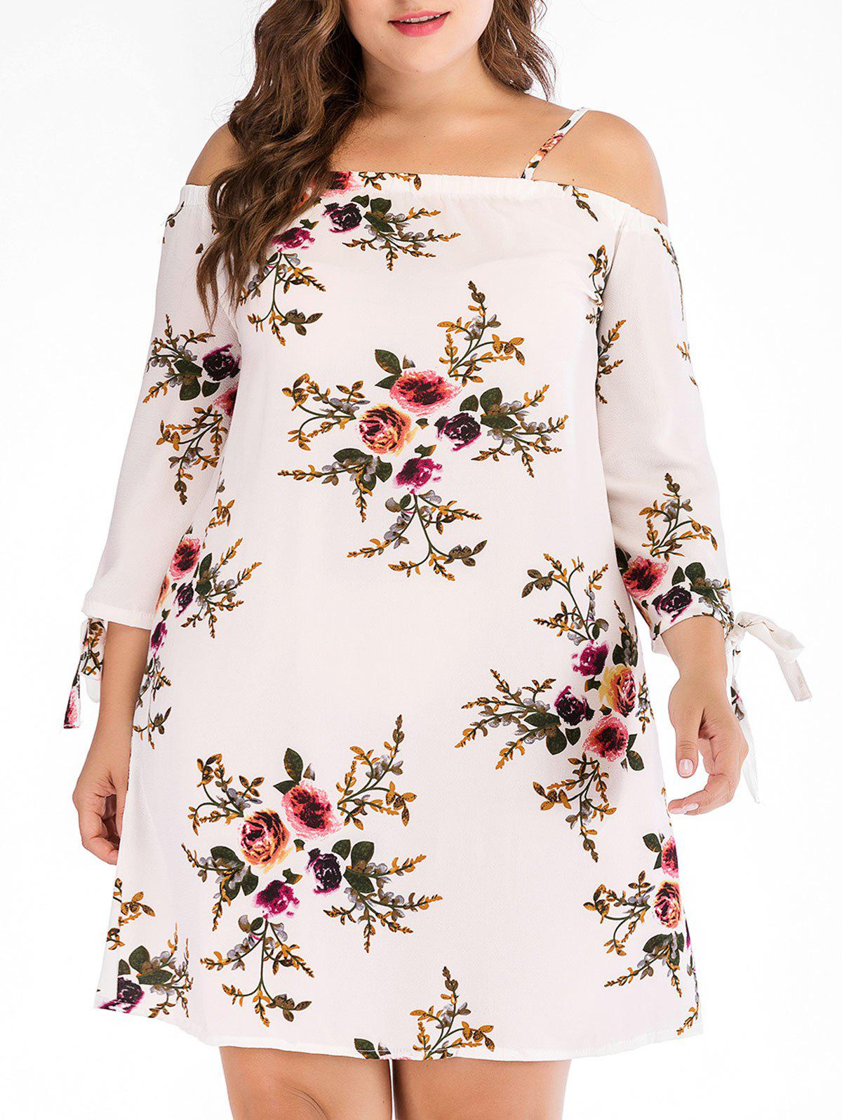 Plus Size Open Shoulder Print Dress - WHITE 3X