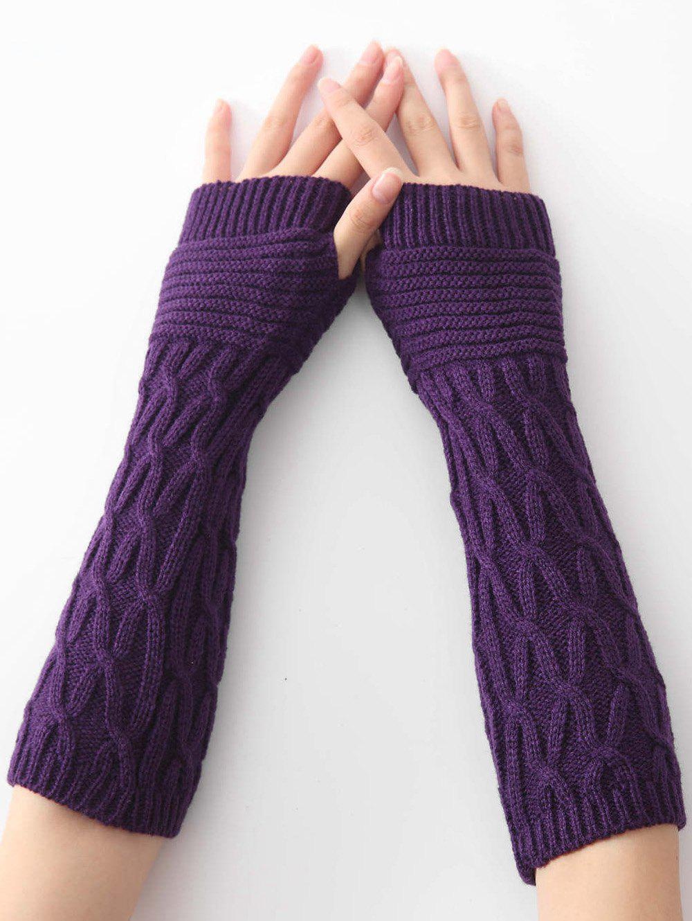 Winter Irregular Striped Knitted Arm Warmers - PURPLE