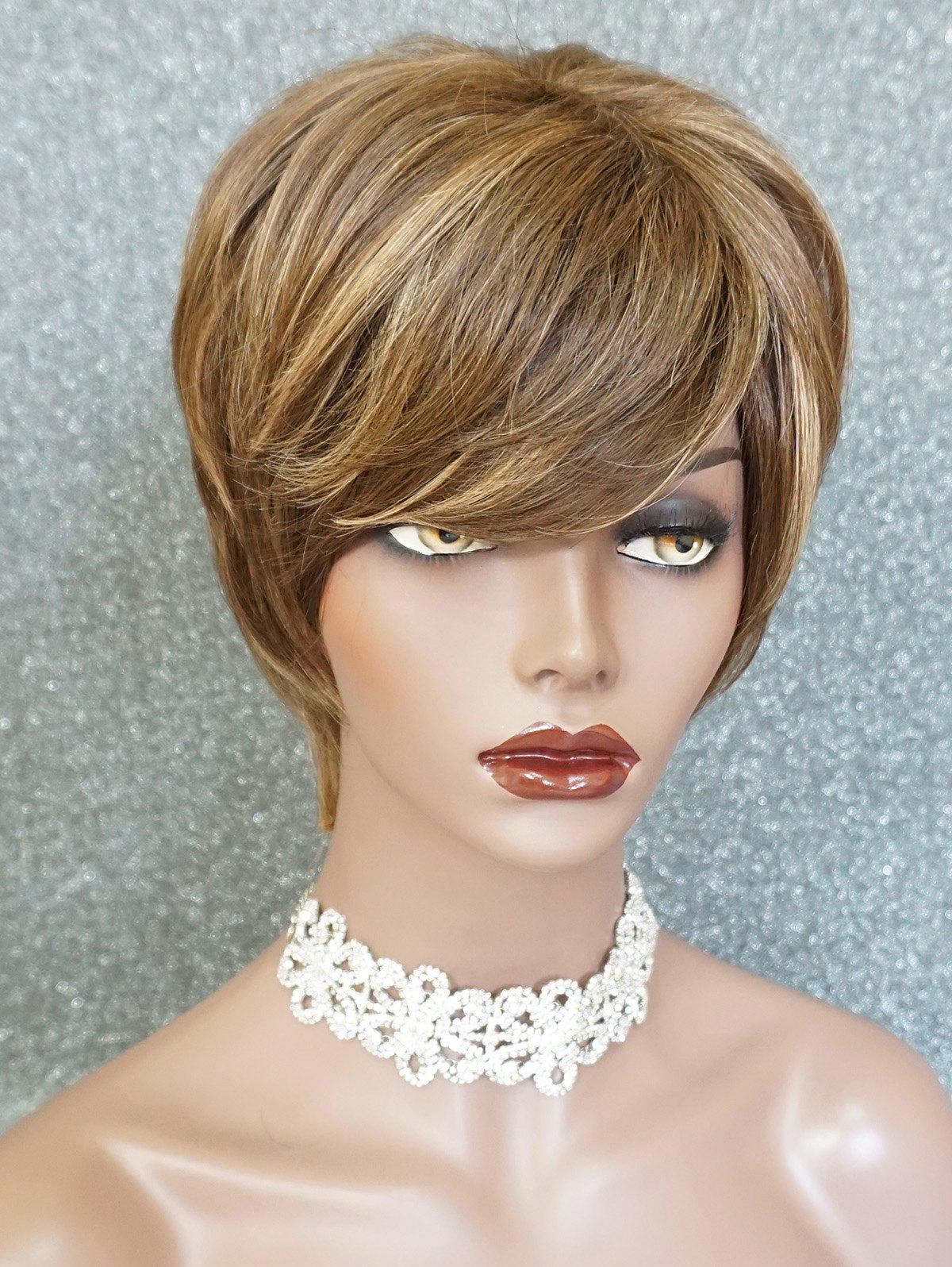Short Inclined Bang Layer Colormix Human Hair Wig - multicolor