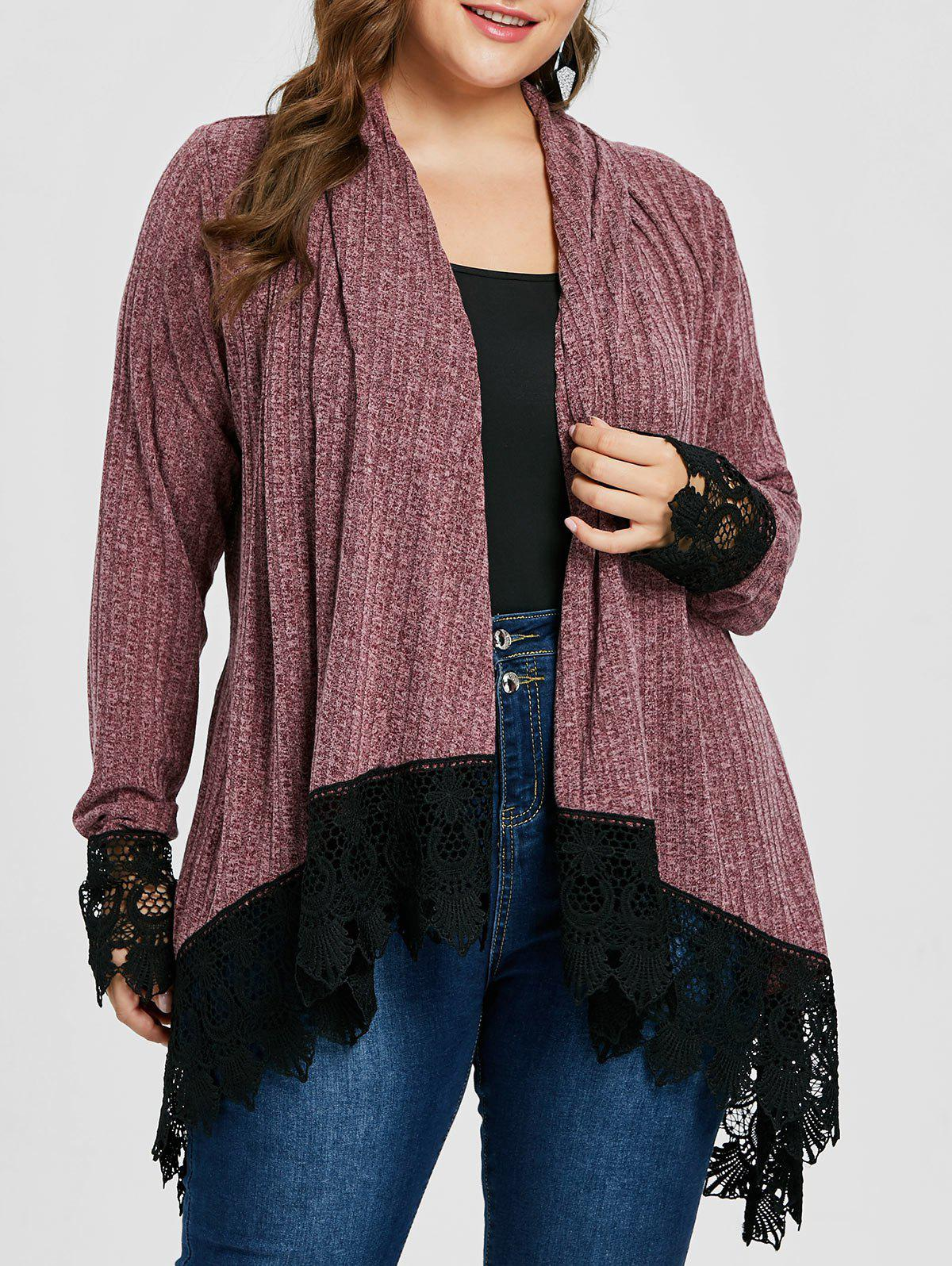 Plus Size Lace Trim Ribbed Cardigan 276126206