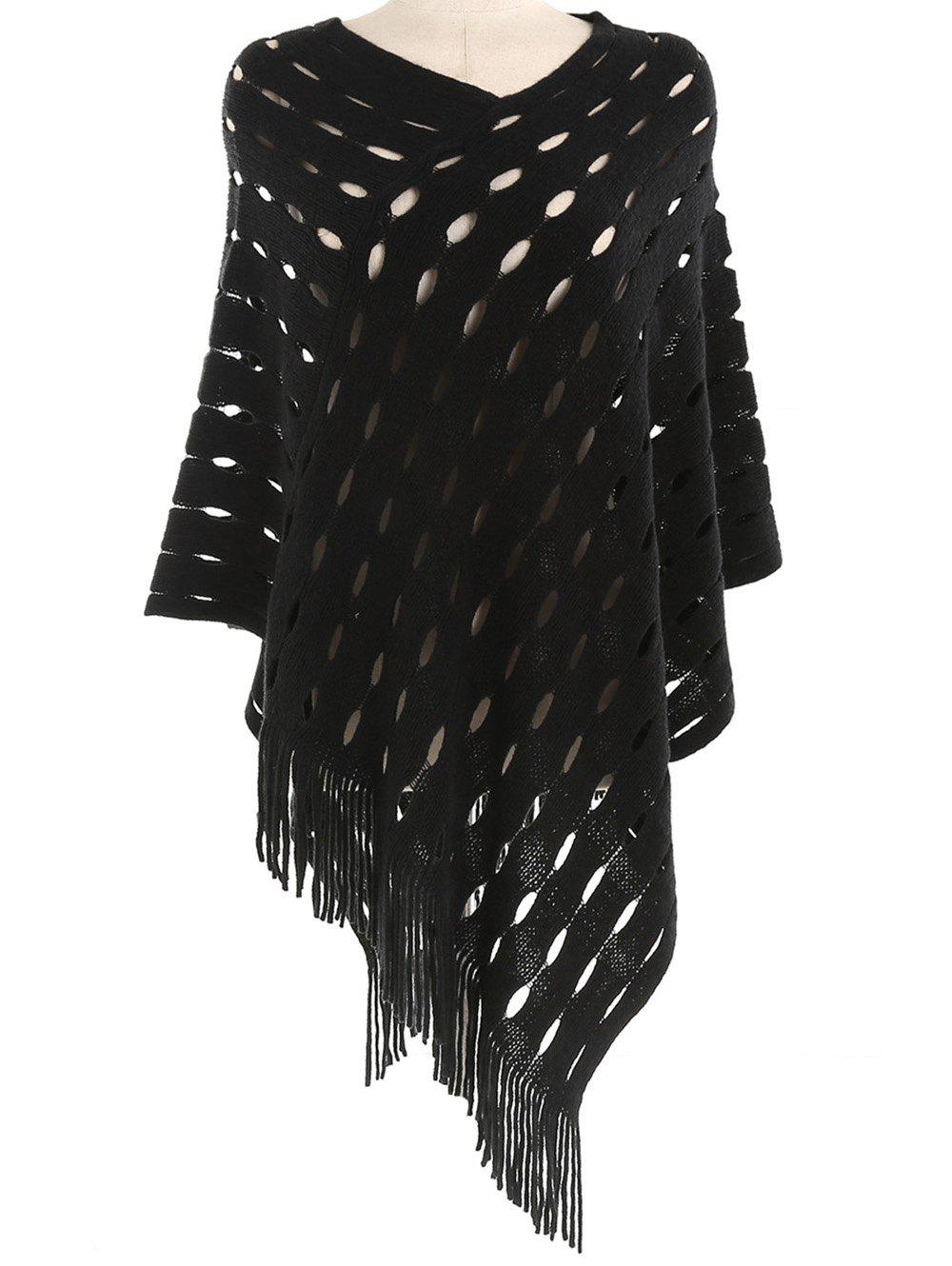 Vintage Hollow Out Fringed Oversized Scarf - BLACK
