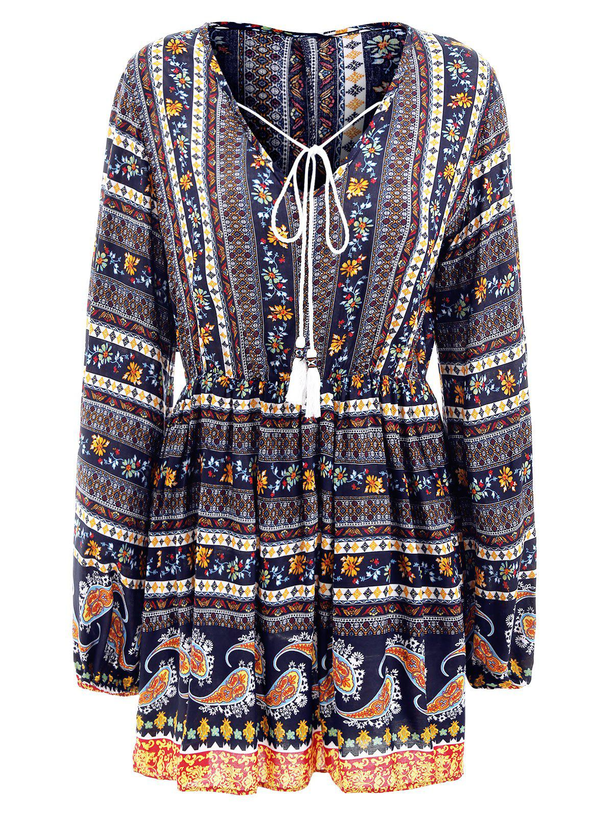 Elastic Waist Long Sleeve Bohemia Print Dress - CADETBLUE L