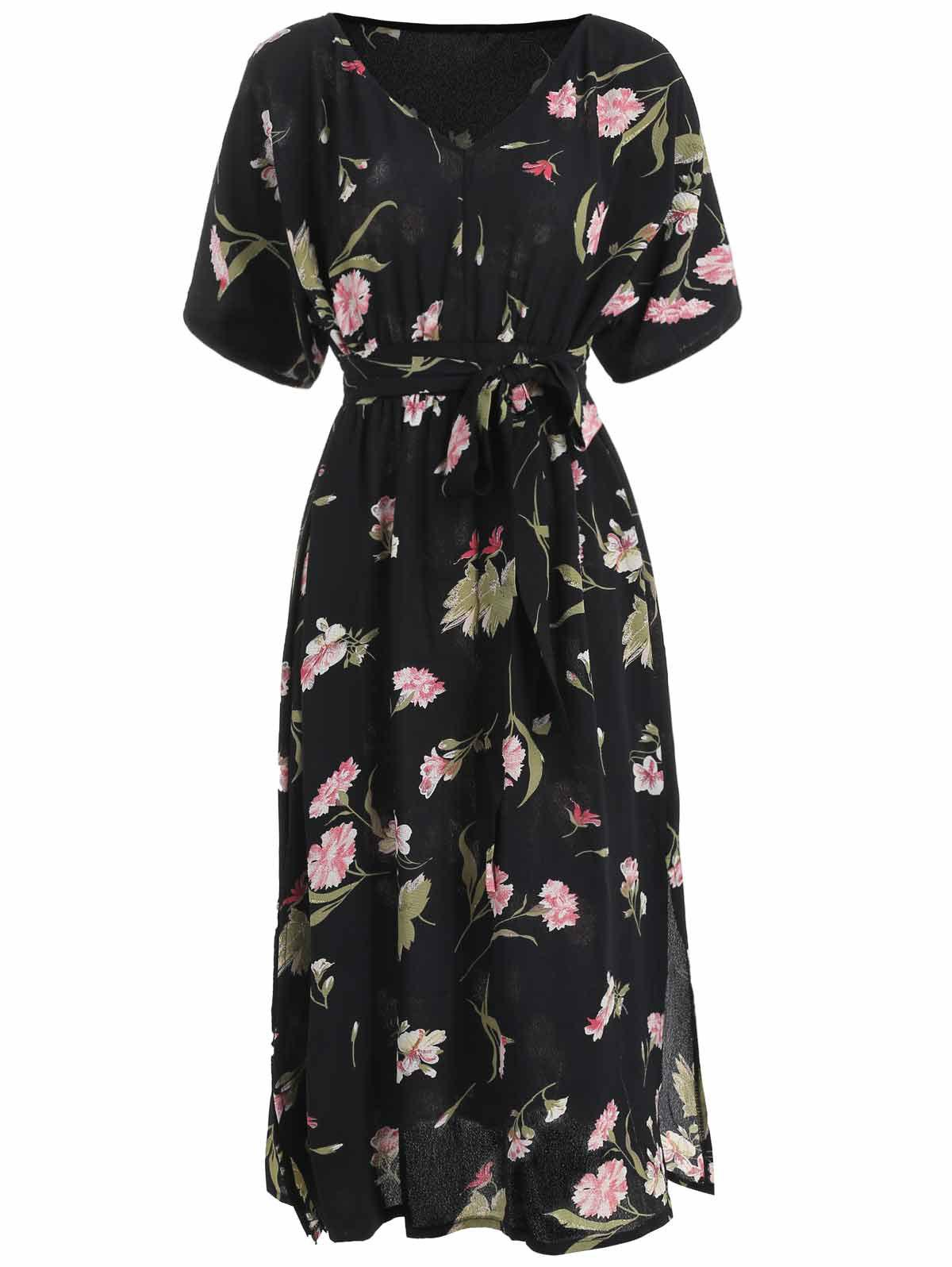 Floral Print High Waist Slit Dress - BLACK XL