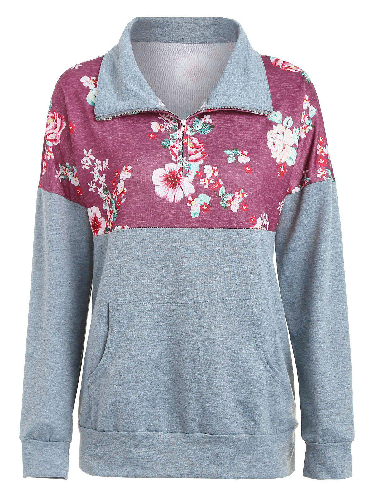Drop Shoulder Printed Zip Sweatshirt