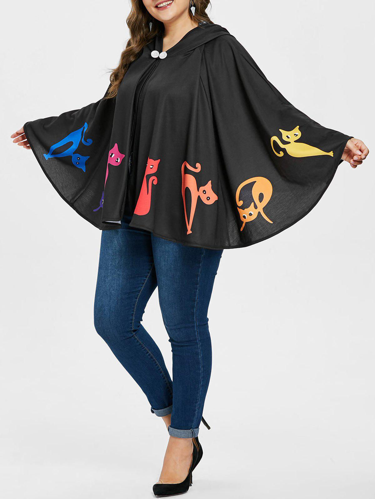 Plus Size Hooded Halloween Batwing Coat - BLACK 3X
