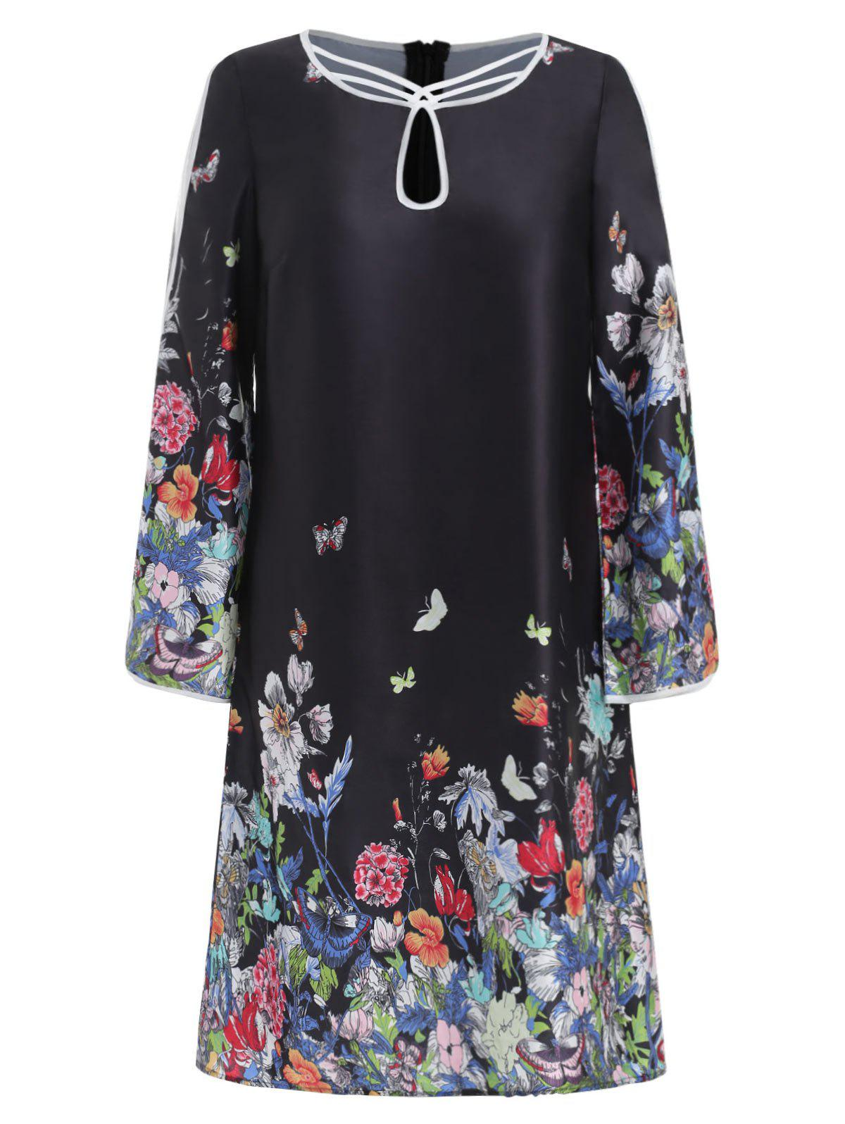 Split Bell Sleeve Floral Trapeze Dress - BLACK S