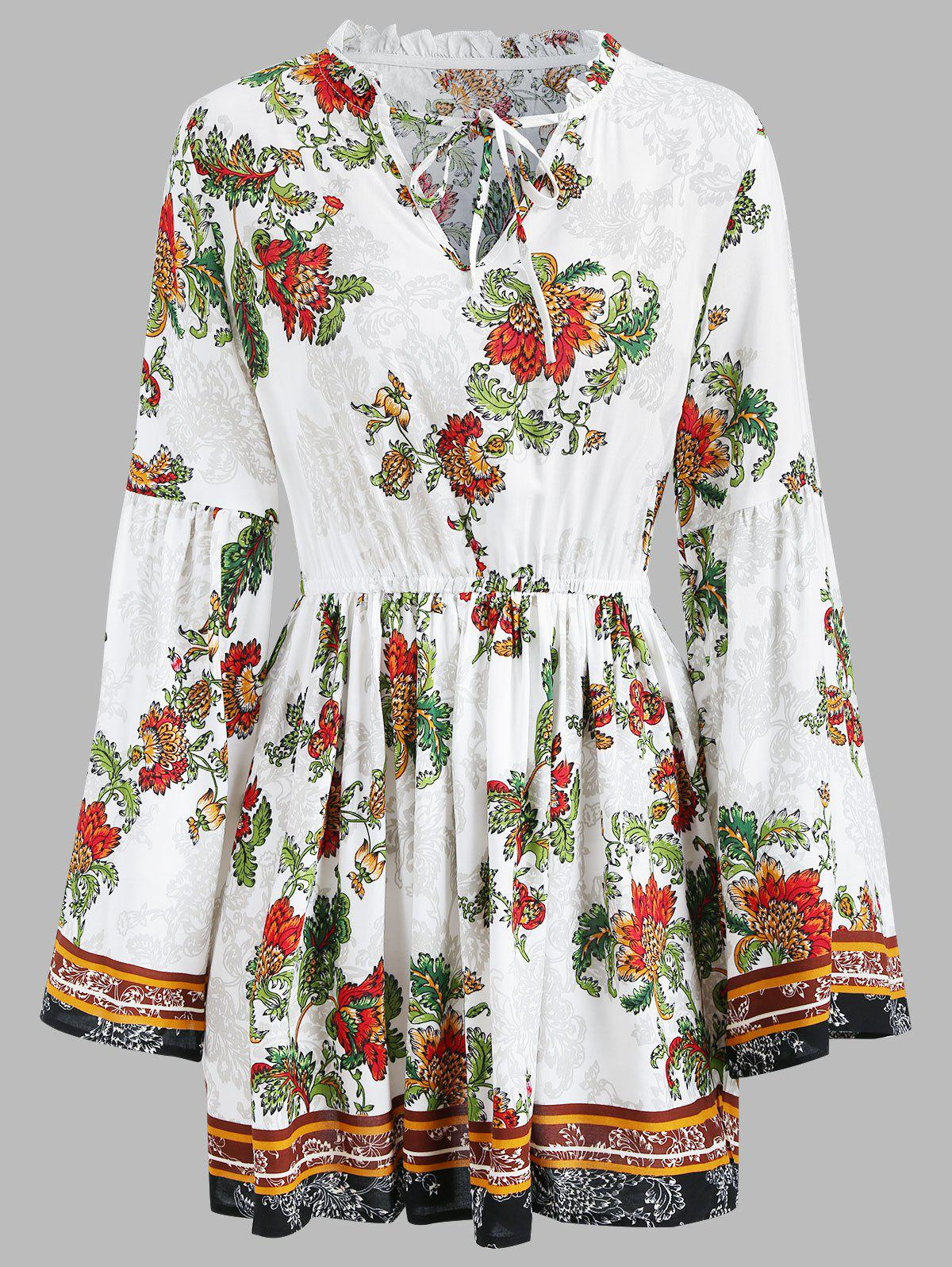 Ethnic Floral Elastic Waist Long Sleeve Dress - WHITE L