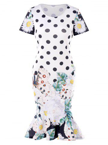 Polka Dot Butterflies Print Small Fishtail Dress
