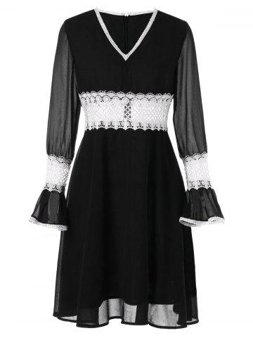 Contrast Lace Panel Chiffon Flare Dress