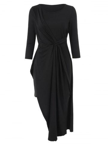 Ruched Front Asymmetrical Midi Dress