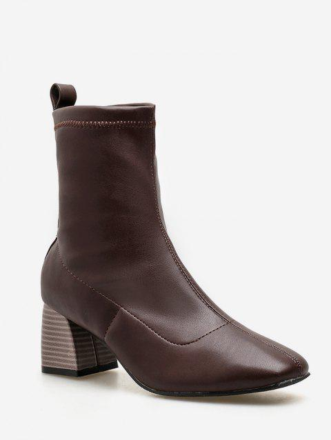 Stacked Heel PU Leather Ankle Boots - BROWN EU 37