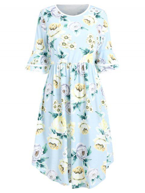 Bell Sleeve Printed A Line Dress - SEA BLUE M