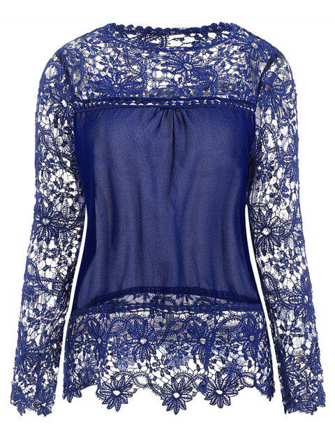 Stylish Round Neck Long Sleeve Hollow Out Spliced Women's Blouse - SAPPHIRE BLUE L