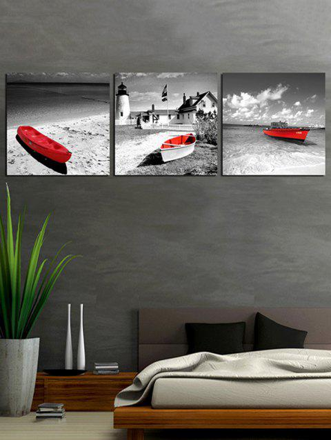 Seaside Boat Print Unframed Canvas Paintings - GRAY 3PCS:24*24 INCH( NO FRAME )