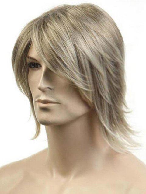 Meidum Side Bang Straight Colormix Synthetic Men Wig - CHAMPAGNE GOLD