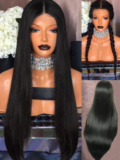 Long Center Parting Straight Party Synthetic Fiber Lace Front Wig - BLACK 24INCH