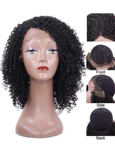 Side Parting Short Kinky Curly Synthetic Lace Front Wig - BLACK