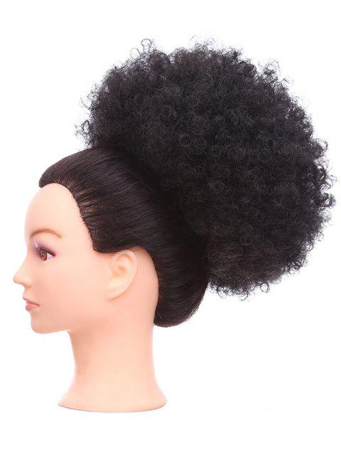 Short Synthetic Fluffy Curly Hair Bun Ponytail Wig - BLACK