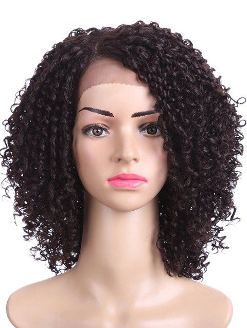 Side Parting Short Kinky Curly Synthetic Lace Front Wig - NATURAL BLACK