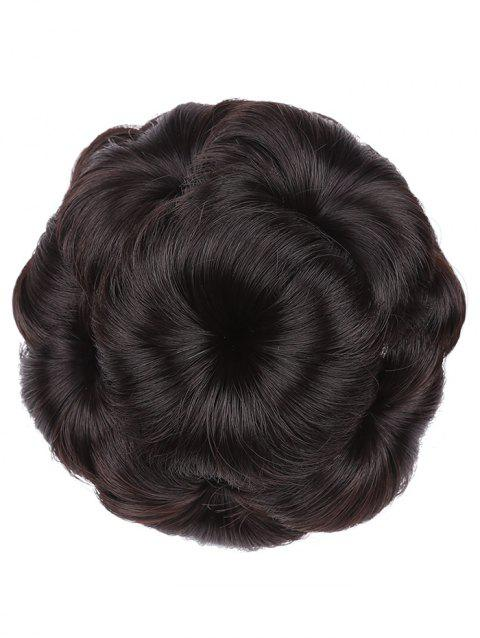 Clip in Curled Flower Synthetic Hair Bun Wig - DEEP BROWN