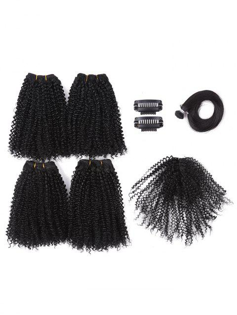 Synthetic Straight Style Wig Hair Clips Hair Weaves Set - BLACK
