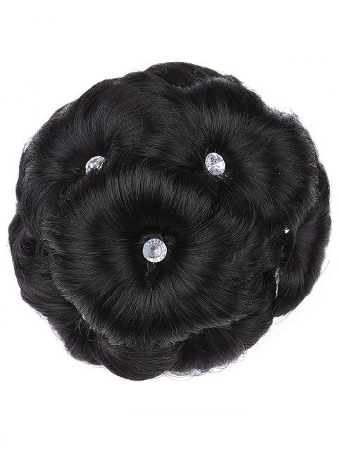 Curled Flower Chignon Wig - NATURAL BLACK