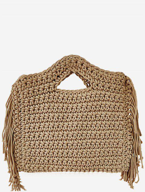 Woven Straw Tassels Crossbody Bag - CAMEL BROWN