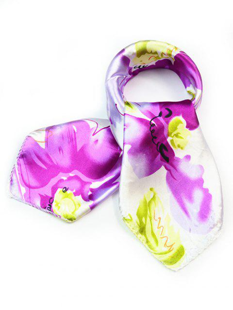 Stylish Flourishing Floral Silky Handkerchief - PURPLE
