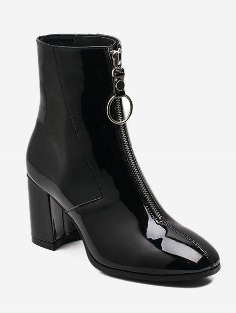Zipper Front Patent Leather Ankle Boots - BLACK EU 38