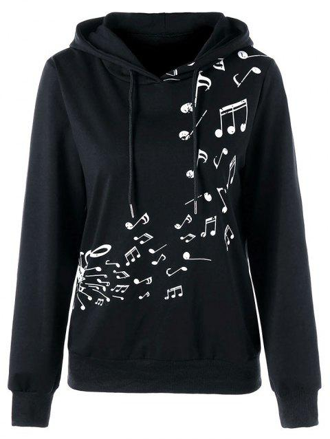 Two Tone Music Note Hoodie - BLACK 2XL