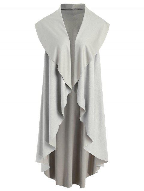 Asymmetrical Collarless Vest - GRAY M