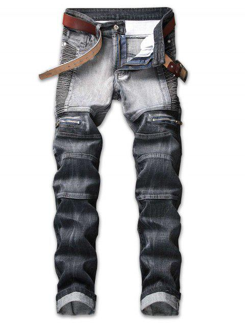 Pleated Zipper Decorated Denim Jeans - GRAY 40
