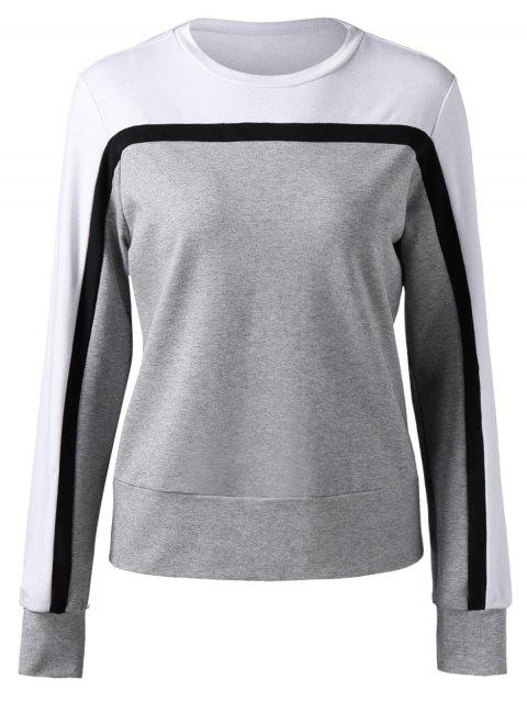 Sweat-shirt à Bordure Contrastée - Gris L