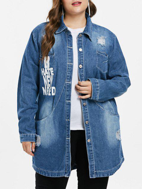 Plus Size Letter Print Denim Coat - DENIM DARK BLUE 1X