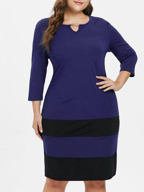 Plus Size Striped Color Block Dress - COBALT BLUE L
