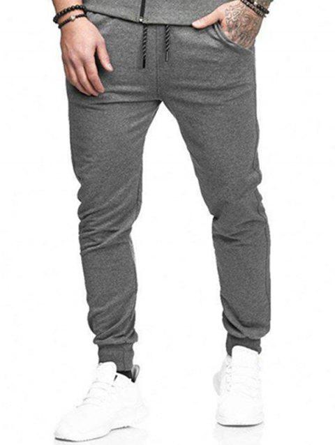 Solid Side Pockets Casual Jogger Pants - GRAY L