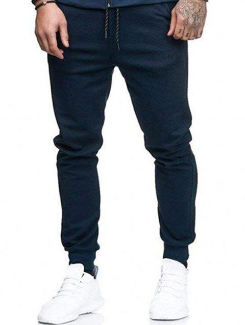 Solid Side Pockets Casual Jogger Pants - CADETBLUE S