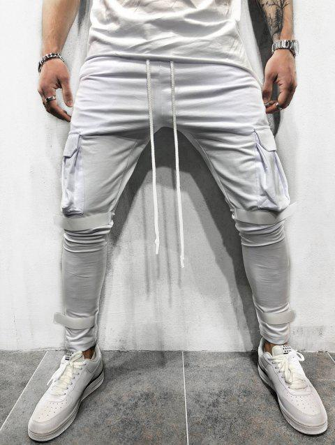 Casual Velcro Design Cargo Sweatpants - WHITE S