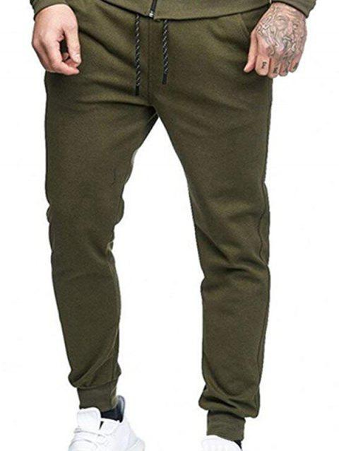 Solid Side Pockets Casual Jogger Pants - ARMY GREEN M