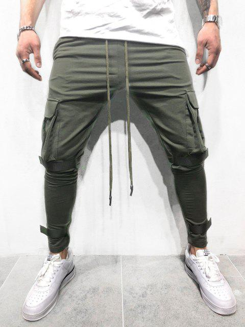 Casual Velcro Design Cargo Sweatpants - ARMY GREEN M