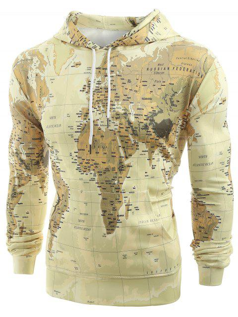 Drawstring World Map Print Hoodie - ANTIQUE WHITE M