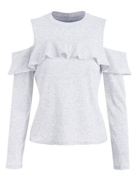 Ruffled Ribbed Cold Shoulder Knitwear - PLATINUM L